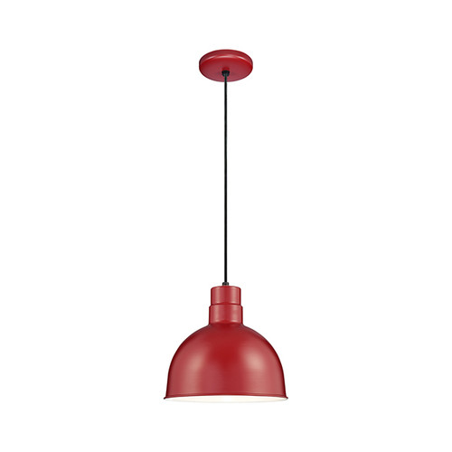 """Millennium Lighting RDBC12-SR R Series 12"""" Industrial Nautical Pendant with Satin Red Finish (Wire Guard RWG12 is Optional)"""
