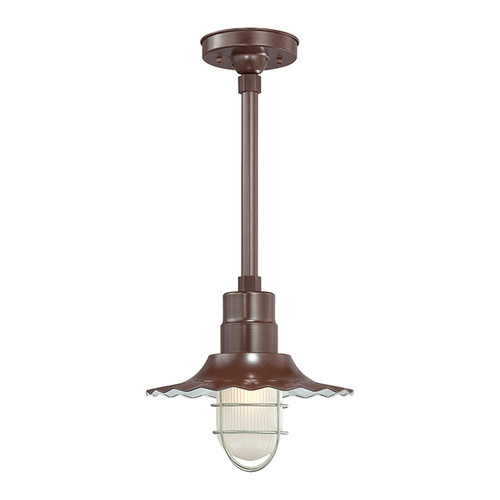 """Millennium Lighting RRWS12-ABR R Series 12"""" Industrial Pendant with Ribbed Shade and Bronze Finish"""
