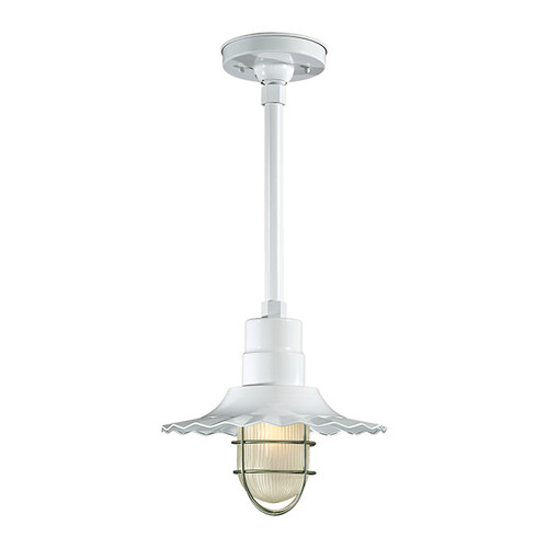 """Millennium Lighting RRWS12-WH R Series12""""  Industrial Pendant with Ribbed Shade and White Finish"""