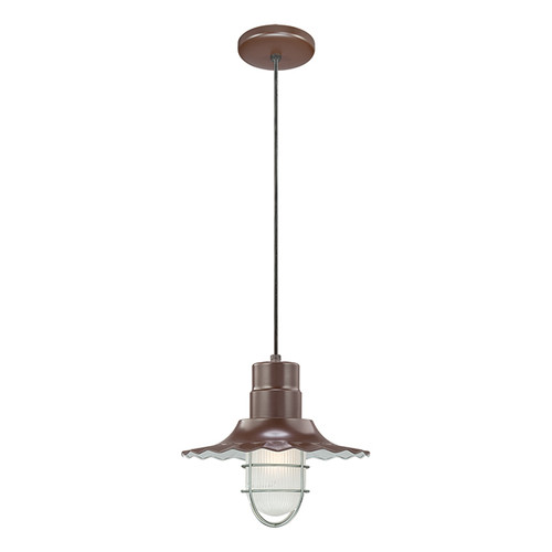 """Millennium Lighting RRWC12-ABR R Series 12"""" Bronze Industrial Pendant with Ribbed Shade"""