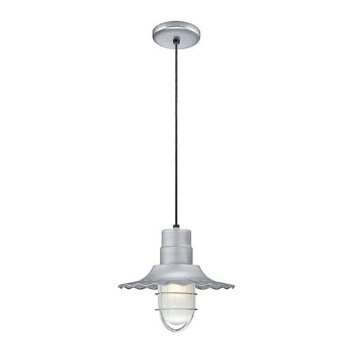 "Millennium Lighting RRWC12-GA R Series 12"" Galvanized Steel Industrial Pendant with Ribbed Shade"