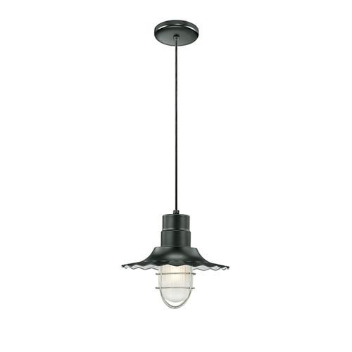 "Millennium Lighting RRWC12-SB R Series 12"" Satin Black Industrial Pendant with Ribbed Shade"