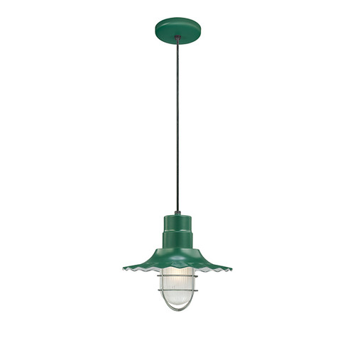 """Millennium Lighting RRWC12-SG R Series 12"""" Satin Green Industrial Pendant with Ribbed Shade"""