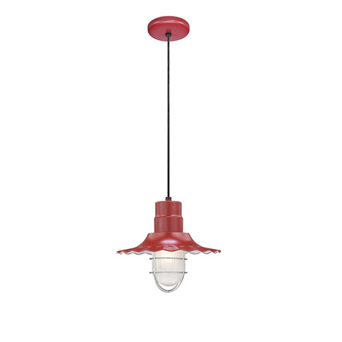 """Millennium Lighting RRWC12-SR R Series 12"""" Satin Red Industrial Pendant with Ribbed Shade"""