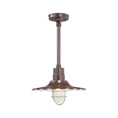 """Millennium Lighting RRWS15-ABR R Series 15"""" Industrial Pendant with Ribbed Shade and Bronze Finish"""