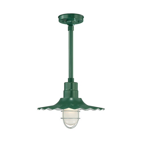"""Millennium Lighting RRWS15-SG R Series 15"""" Industrial Pendant with Ribbed Shade and Satin Green Finish"""
