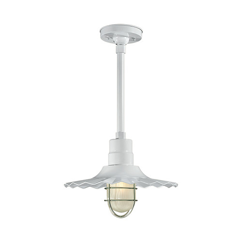 """Millennium Lighting RRWS15-WH R Series15""""  Industrial Pendant with Ribbed Shade and White Finish"""