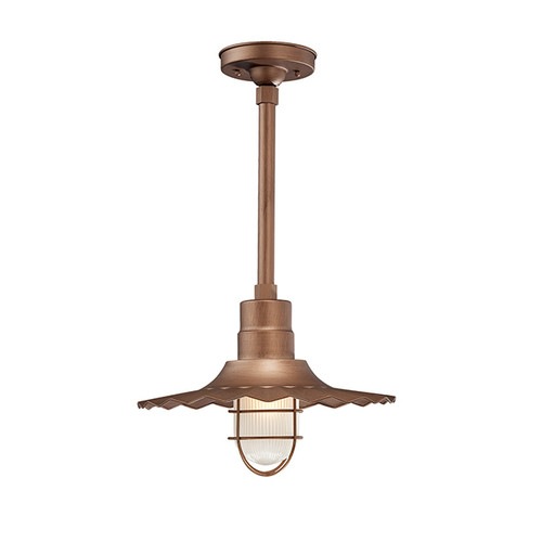 """Millennium Lighting RRWS15-CP R Series 15"""" Industrial Pendant with Ribbed Shade and Copper Finish"""