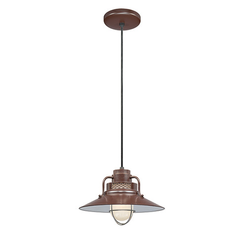 """Millennium Lighting RRRC14-ABR R Series 14"""" Bronze Industrial Pendant with Etched Glass"""