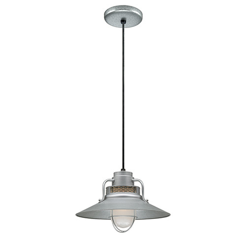 """Millennium Lighting RRRC14-GA R Series 14"""" Galvanized Steel Industrial Pendant with Etched Glass"""