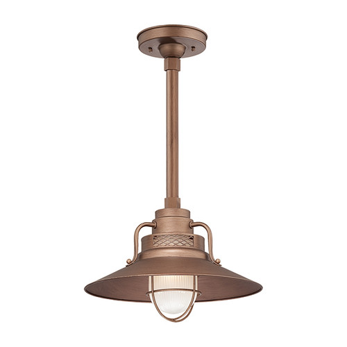 Millennium Lighting RRRS14-CP R Series Pendant in Copper.Removeable glass guard and inside etched glass included. UL listed for wet locations.Must order goose neck(RGN) or canopy(RSCKSS)/stem(RS) to hang.