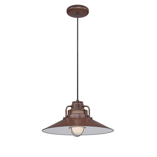 """Millennium Lighting RRRC18-ABR R Series 18"""" Bronze Industrial Pendant with Etched Glass"""