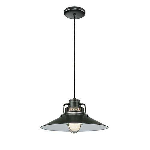 "Millennium Lighting RRRC18-SB R Series 18"" Satin Black Industrial Pendant with Etched Glass"