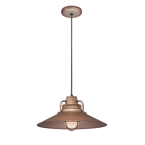 """Millennium Lighting RRRC18-CP R Series 18"""" Copper Industrial Pendant with Etched Glass"""