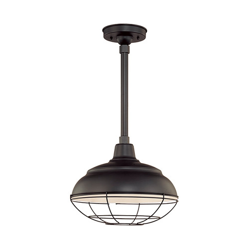 """Millennium Lighting RWHS14-SB R Series 14"""" Diameter Industrial Satin Black Dome Shade - Dome Shade Only(May be ceiling hung with stem RS-, canopy kit RSCK and Wire Guard RWG . May be wall hung with Goose Neck RGN)"""