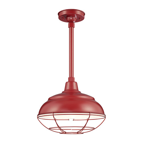 "Millennium Lighting RWHS14-SR R Series 14"" Diameter Industrial Satin Red Dome Shade - Dome Shade Only(May be ceiling hung with stem RS-, canopy kit RSCK and Wire Guard RWG . May be wall hung with Goose Neck RGN)"