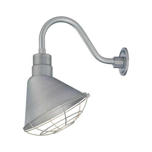 Millennium Lighting RAS12-GA(Shade Only)  R Series Angle Warehouse Shade Light in Galvanized. Wall Mount-Goose Neck (RGN) and Wire Guard (RWG) Sold Separately