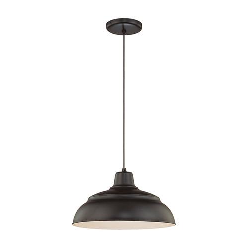 "Millennium Lighting RWHC14-SB R Series Warehouse Industrial Pendant in Satin Black - 14"" Diameter(Wire Guard RWG Sold Separately)"