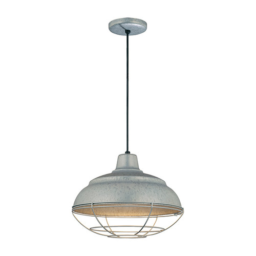 "Millennium Lighting RWHC14-GA R Series Warehouse Industrial Pendant in Galvanized Steel - 14"" Diameter((Wire Guard RWG Sold Separately)"
