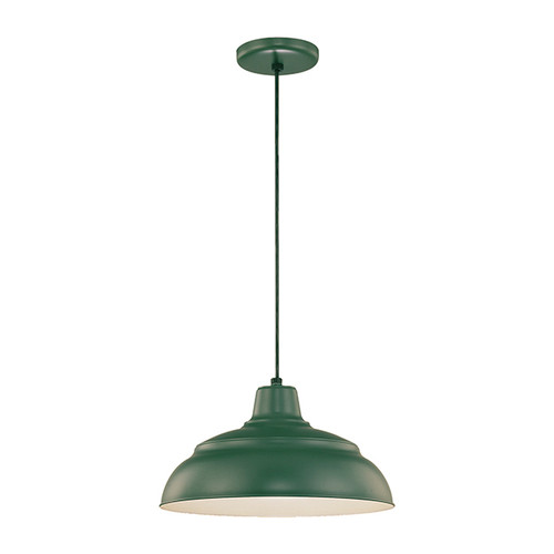 "Millennium Lighting RWHC14-SG R Series Warehouse Industrial Pendant in Satin Green - 14"" Diameter(Wire Guard RWG Sold Separately)"