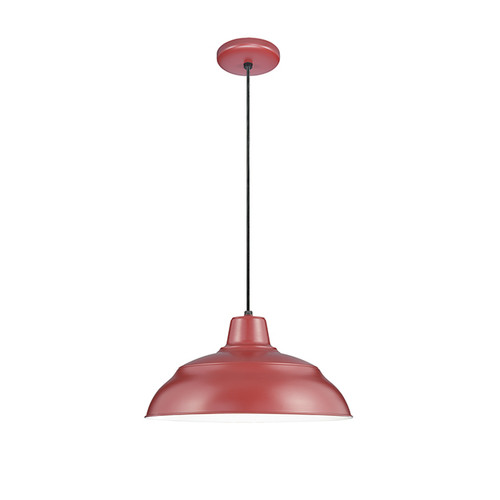 "Millennium Lighting RWHC14-SR R Series Warehouse Industrial Pendant in Satin Red - 14"" Diameter(Wire Guard RWG Sold Separately)"