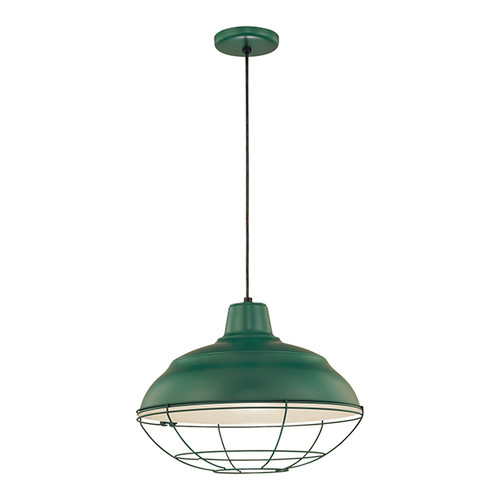 """Millennium Lighting RWHC17-SG R Series Warehouse Industrial Pendant in Satin Green - 17"""" Diameter(Wire Guard RWG Sold Separately)"""
