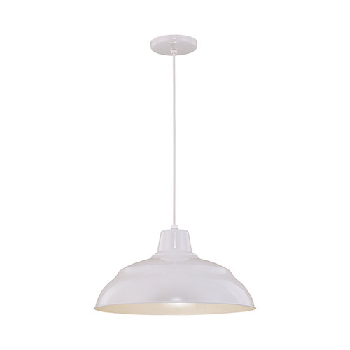 "Millennium Lighting RWHC17-WH R Series Warehouse Industrial Pendant in White - 17"" Diameter(Wire Guard RWG Sold Separately)"