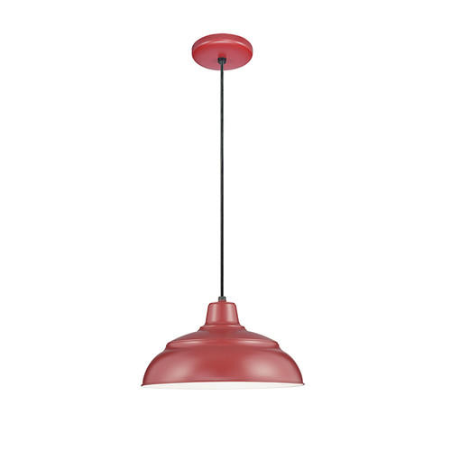 "Millennium Lighting RWHC17-SR R Series Warehouse Industrial Pendant in Satin Red - 17"" Diameter(Wire Guard RWG Sold Separately)"