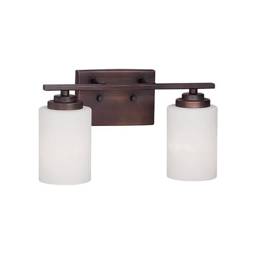 Millennium Lighting 3182-RBZ Durham Etched White Vanity Light in Rubbed Bronze