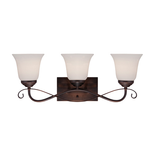 Millennium Lighting 3023-RBZ Kingsport Etched White Vanity Light in Rubbed Bronze
