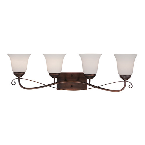 Millennium Lighting 3024-RBZ Kingsport Etched White Vanity Light in Rubbed Bronze