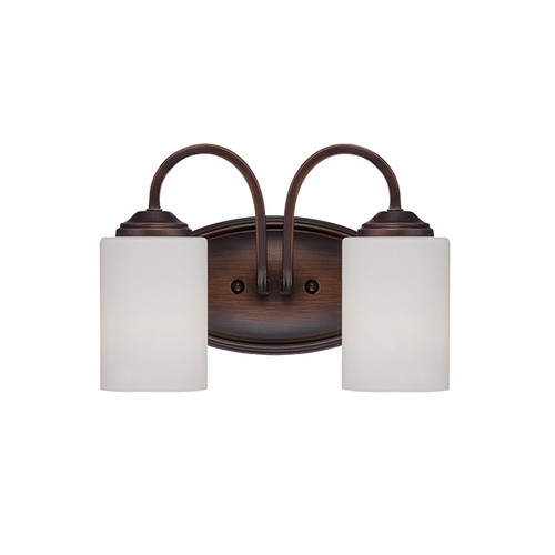 Millennium Lighting 3072-RBZ Lansing Etched White Vanity Light in Rubbed Bronze