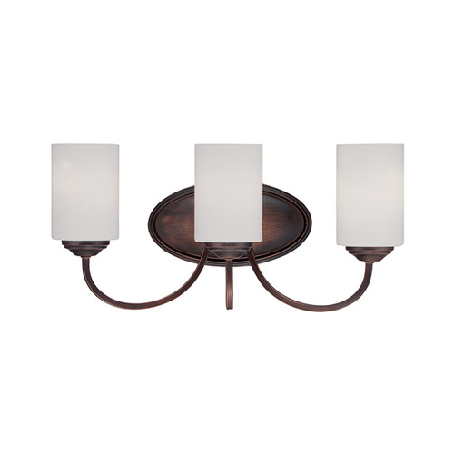 Millennium Lighting 3073-RBZ Lansing Etched White Vanity Light in Rubbed Bronze