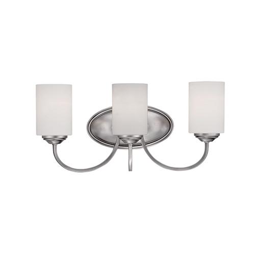 Millennium Lighting 3073-BPW Lansing Etched White Vanity Light in Brushed Pewter