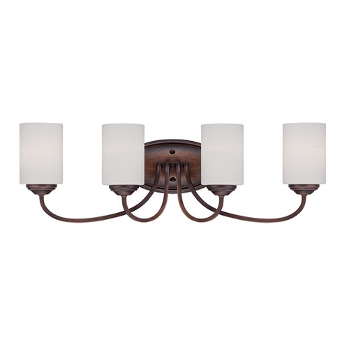 Millennium Lighting 3074-RBZ Lansing Etched White Vanity Light in Rubbed Bronze