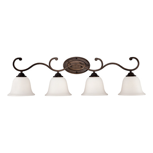 Millennium Lighting 1284-RBZ Etched White Vanity Light in Rubbed Bronze