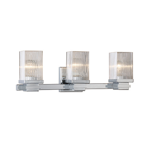 Millennium Lighting 343-CH Clear Fluted Vanity Light in Chrome