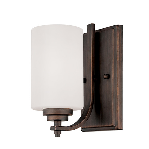 Millennium Lighting 7261-RBZ Bristo Etched White Wall Sconce in Rubbed Bronze