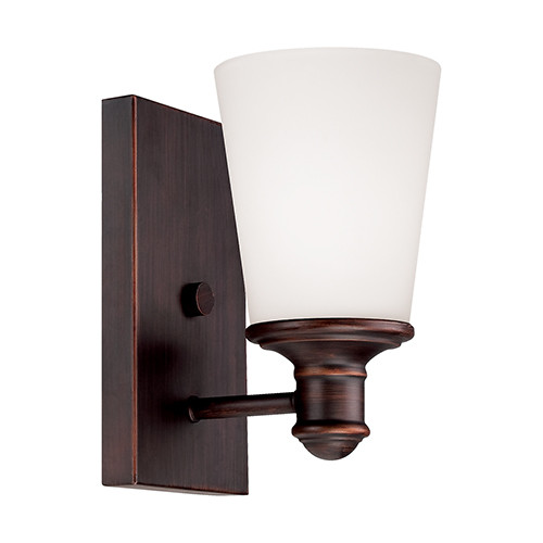 Millennium Lighting 2161-RBZ Cimmaron Etched White Wall Sconce in Rubbed Bronze