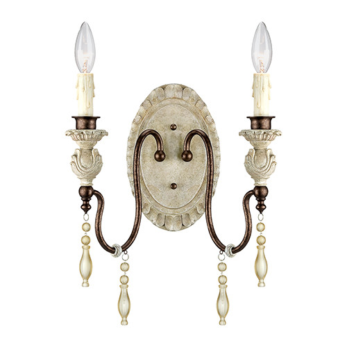 Millennium Lighting 7302-AW/BZ Denise 2 Light Wall Sconce with Antique White Finish and Decorative Crystal Accents
