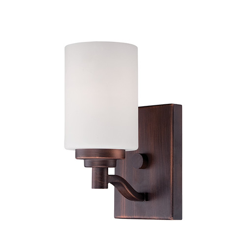 Millennium Lighting 3181-RBZ Durham Etched White Wall Sconce in Rubbed Bronze
