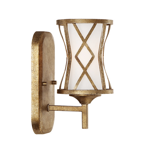 Millennium Lighting 2271-VG Lakewood Etched White Wall Sconce in Vintage Gold