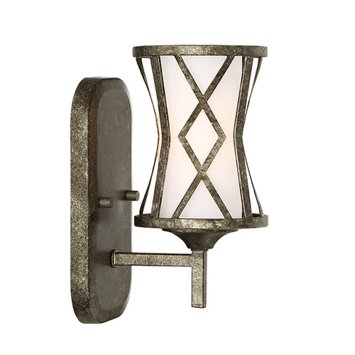 Millennium Lighting 2271-AS Lakewood Etched White Wall Sconce in Antique Silver