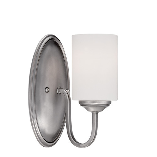 Millennium Lighting 3071-BPW Lansing Etched White Wall Sconce in Brushed Pewter