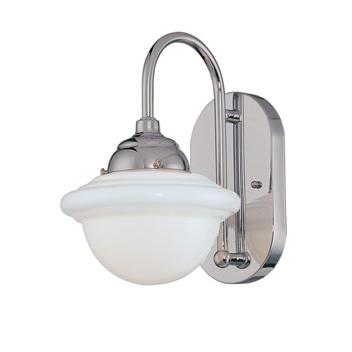Millennium Lighting 5371-CH Neo-Industrial Opal White Schoolhouse Wall Sconce in Chrome