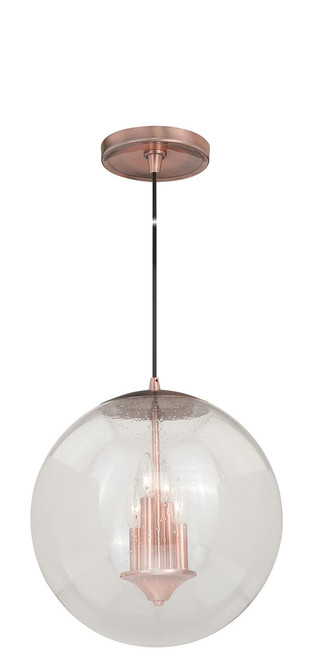 """Vaxcel P0122 630 Series 15-3/4"""" Pendant in Copper with Clear Seeded Glass"""