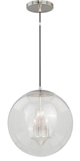 """Vaxcel P0121 630 Series 15-3/4"""" Pendant in Polished Nickel with Clear Seeded Glass"""