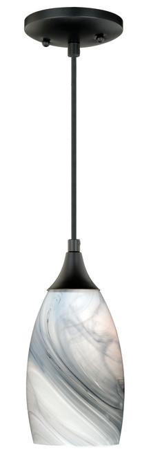 Vaxcel P0175 Milano Mini Pendant with Marble Swirl Glass