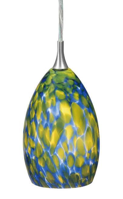 """Vaxcel PD30112SN Milano 4-1/4"""" Mini Pendent with Floral Fusion Glass"""