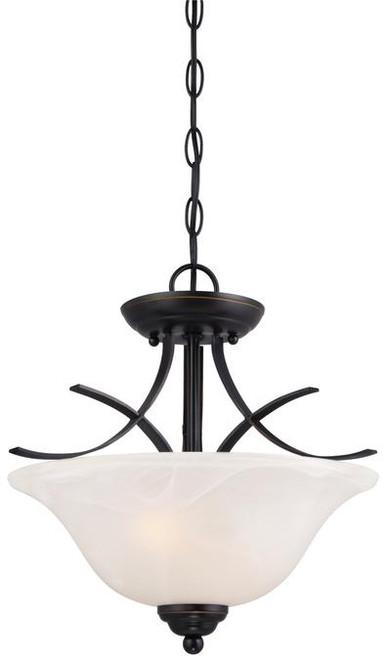 Westinghouse 6340300 Pacific Falls Two-Light Indoor Convertible Pendant/Semi-Flush Ceiling Fixture